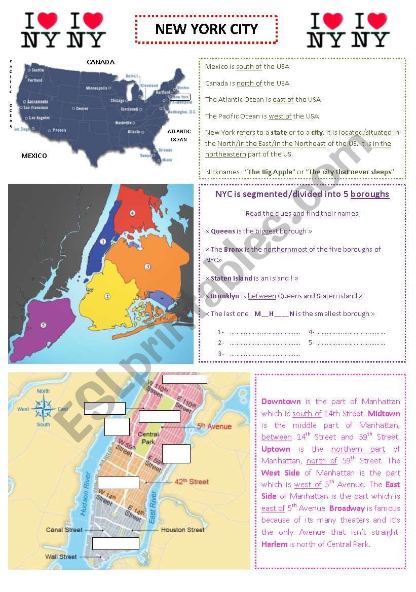 New York City worksheet