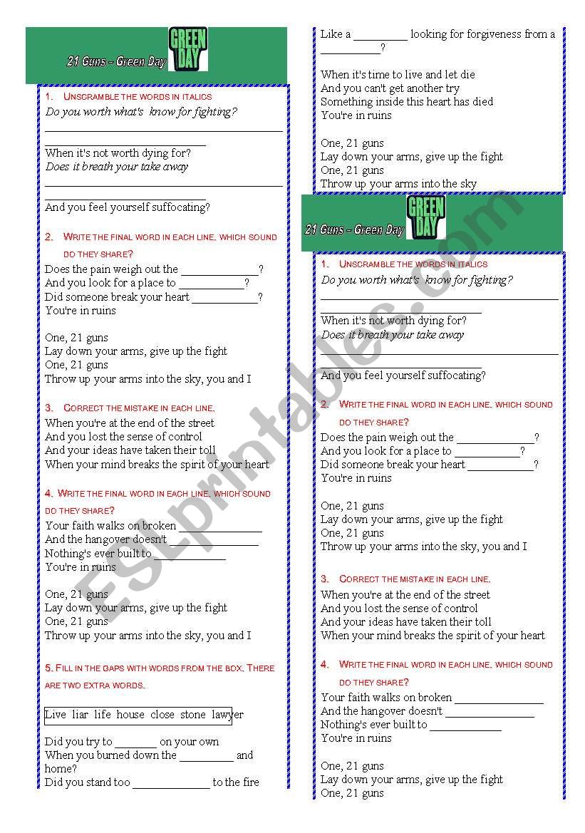 Green Day 21 Guns - ESL worksheet by teachervane06