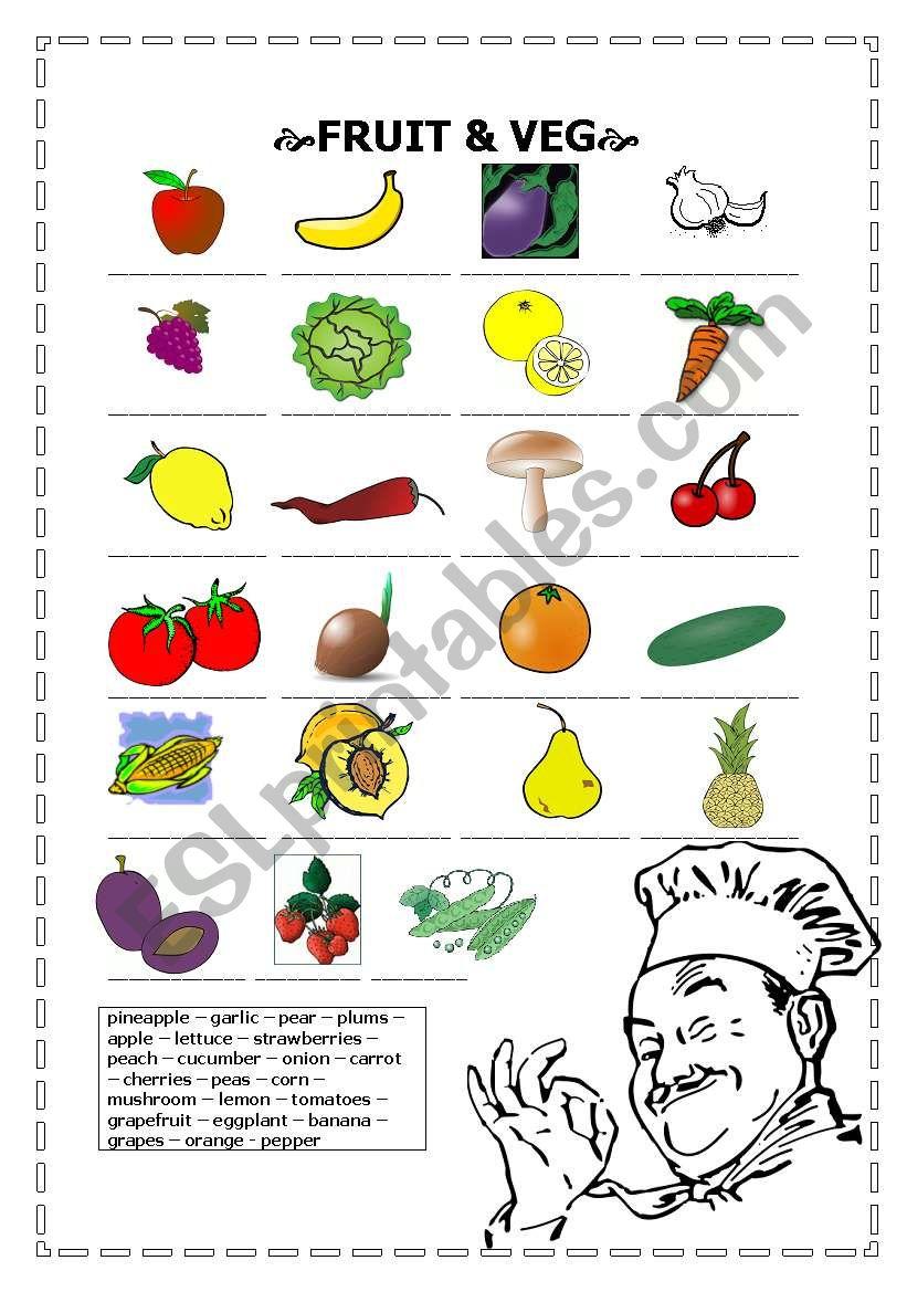fruit and veg worksheet