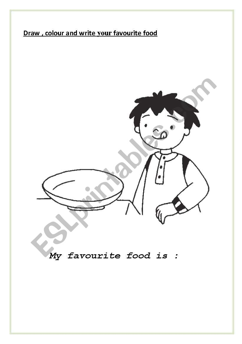 English Worksheets My Favourite Food