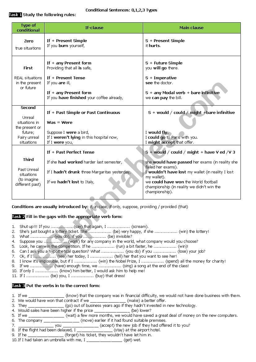 Conditionals:Type 0,1,2,3 worksheet