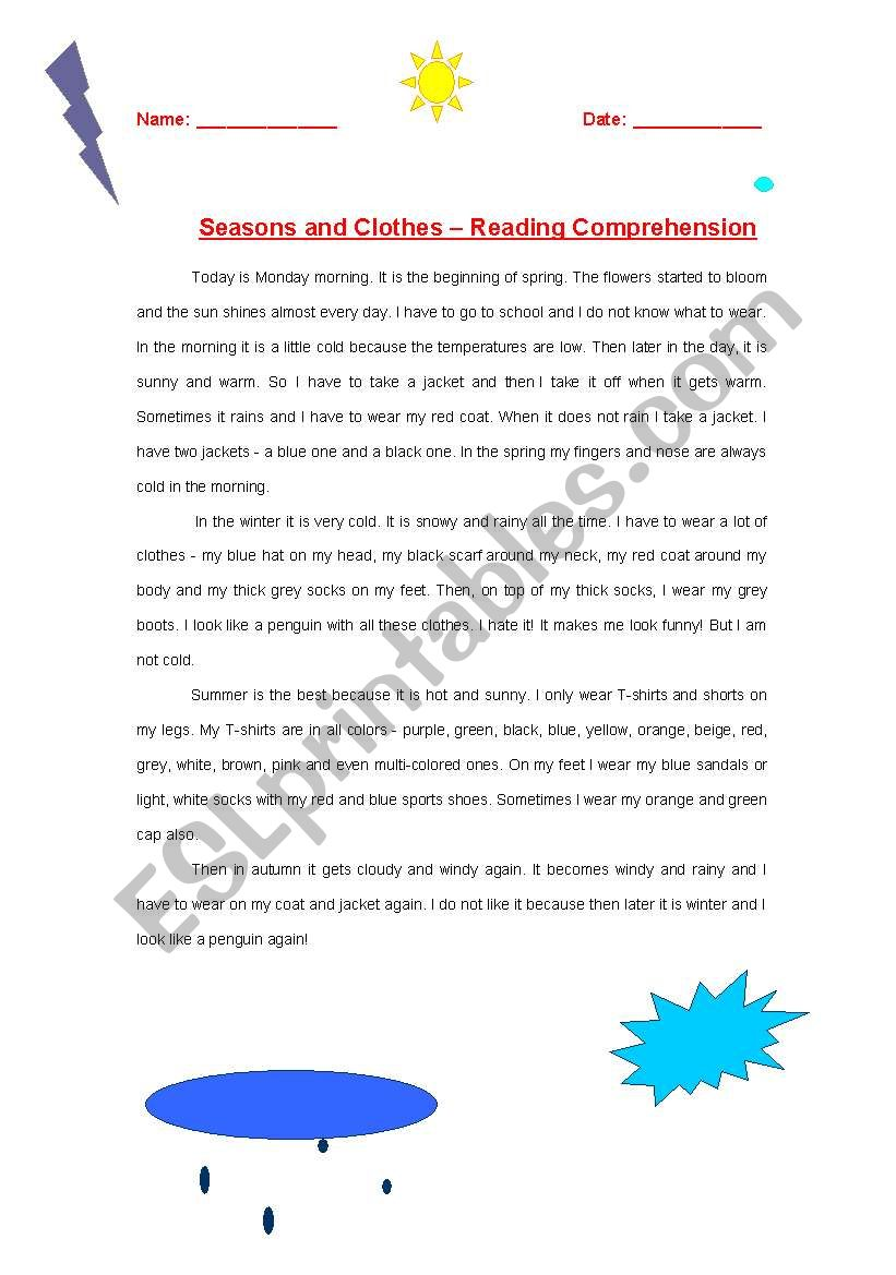 seasons and clothes reading comprehension esl worksheet by irissharony. Black Bedroom Furniture Sets. Home Design Ideas