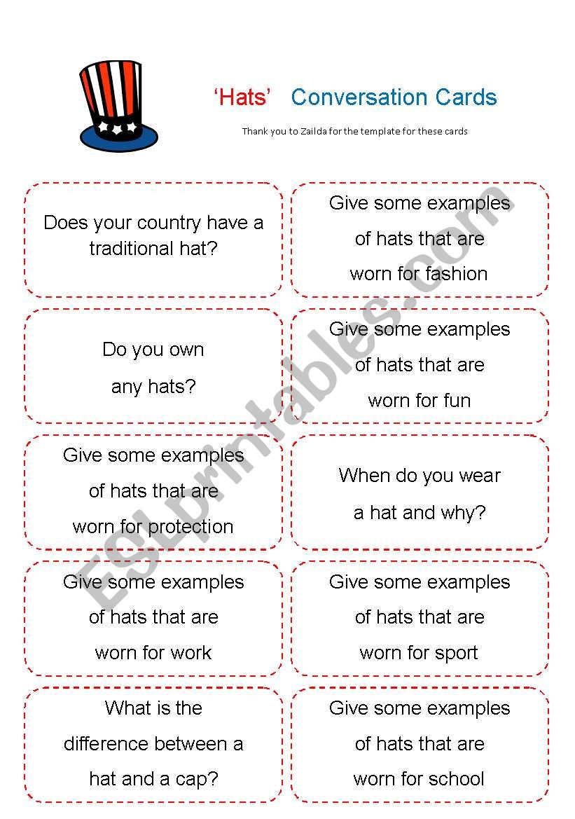 Hat Chat -´Hats´ conversation cards