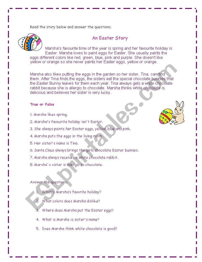 An Easter Story worksheet