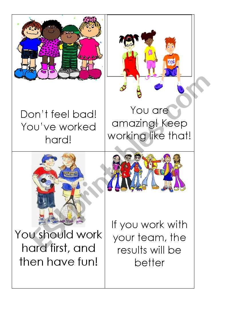 Motivation cards 2 worksheet