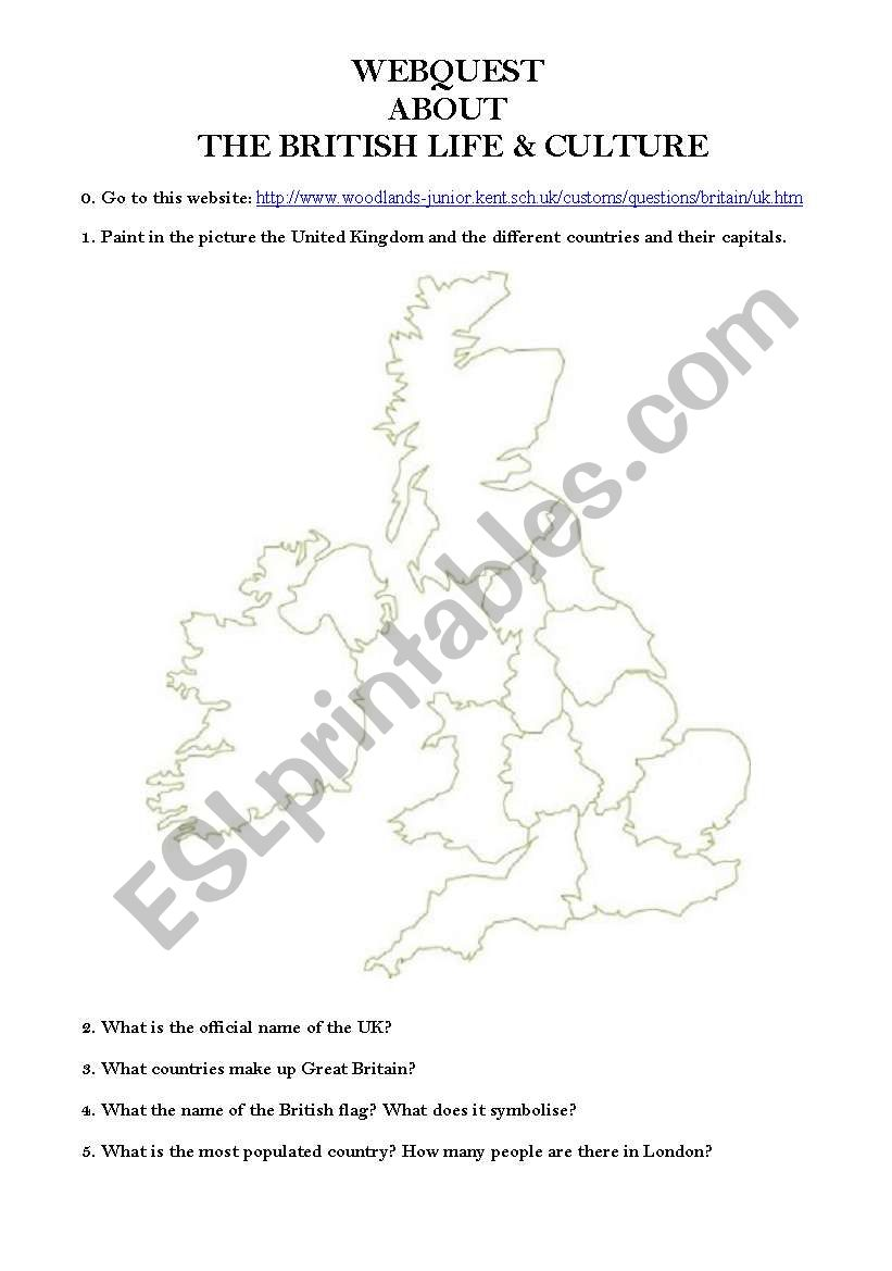 Webquest about the British Life and Culture