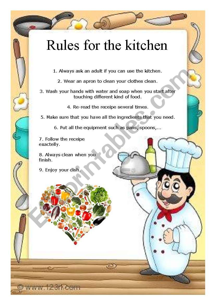 Rules for the kitchen worksheet