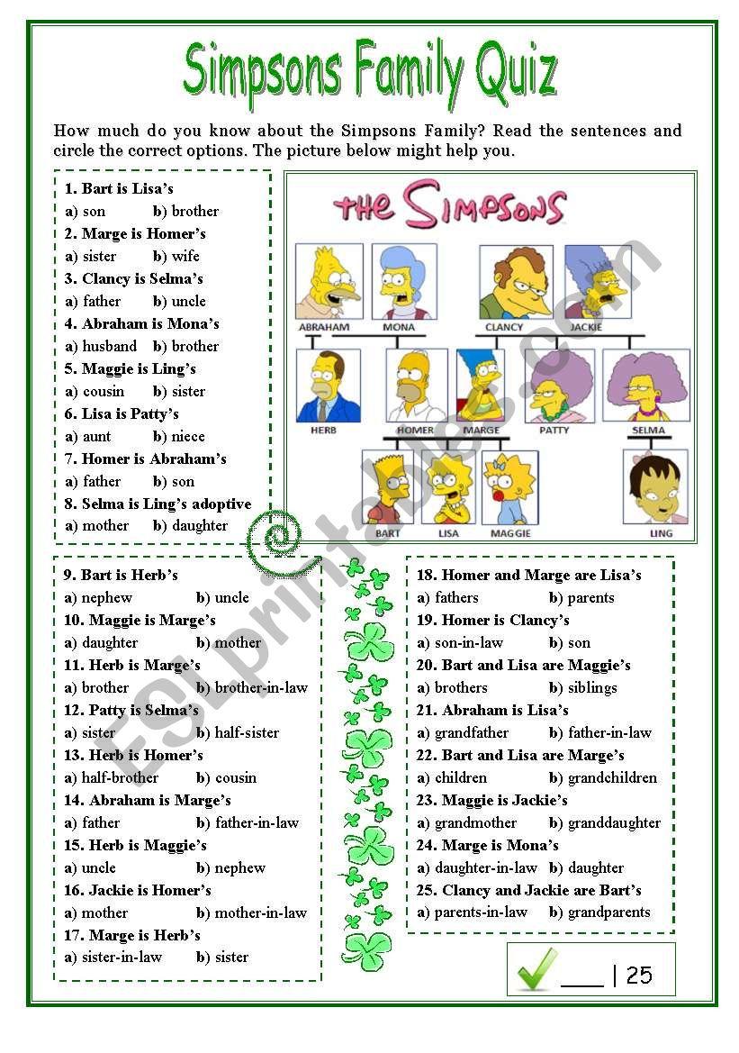 Simpsons Family Quiz worksheet