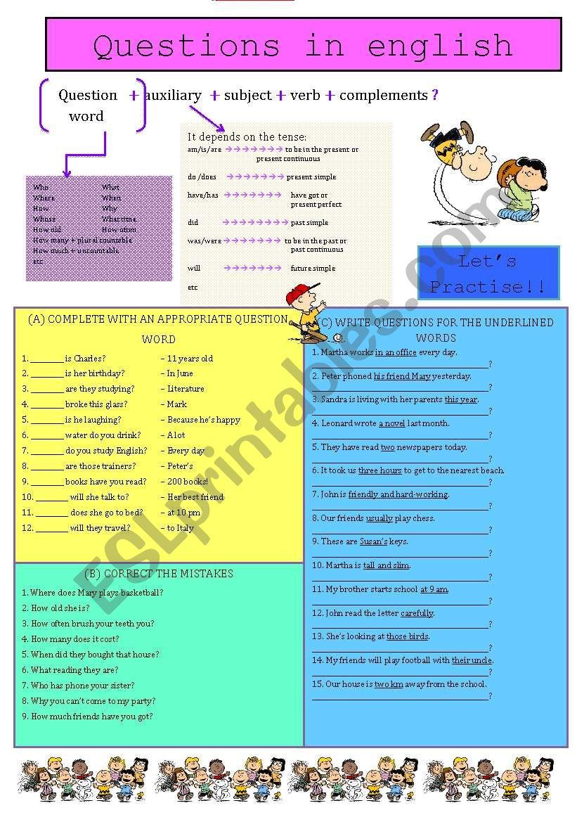 Questions in English - ESL worksheet by churrilinda