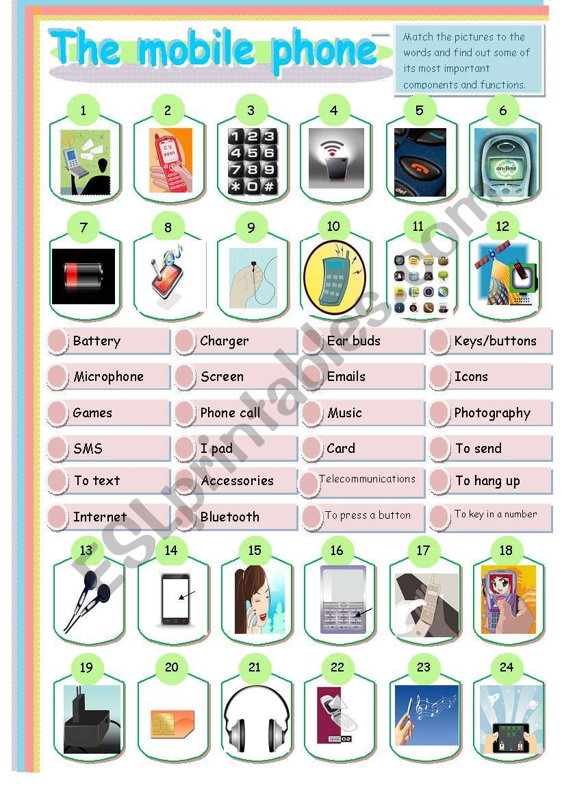 THE MOBILE PHONE MATCHING worksheet