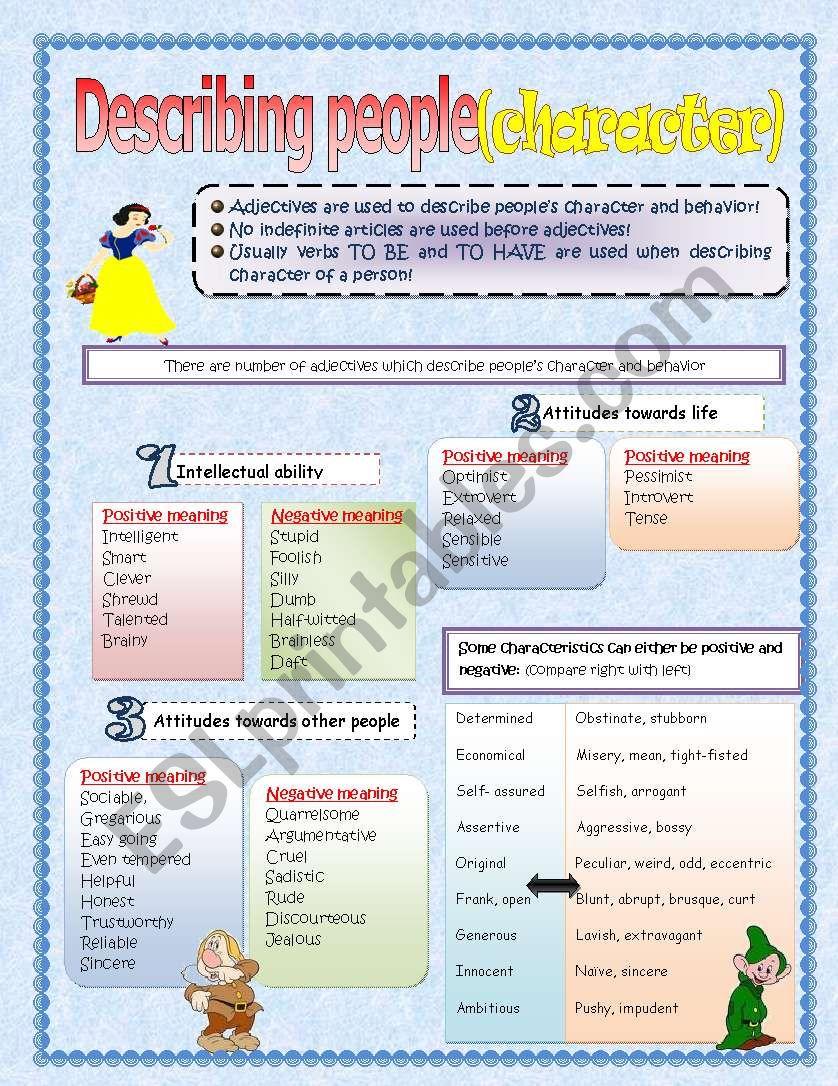 Describing people (character and behaviour)