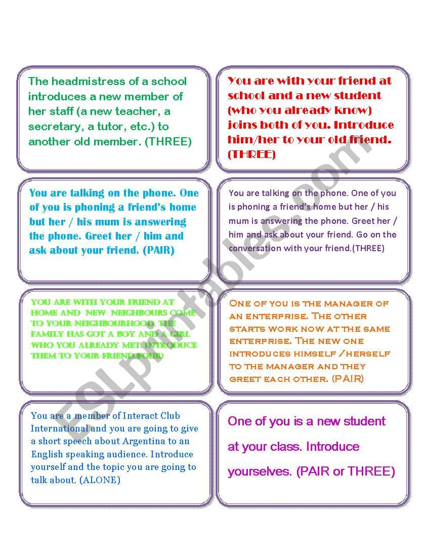 Introducing Yourself Others Esl Worksheet By Vivilui