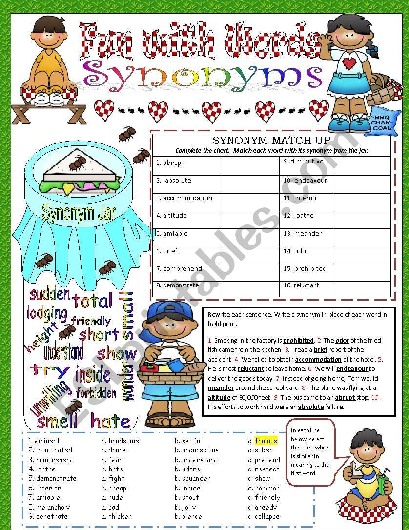Fun with Words - Synonyms worksheet