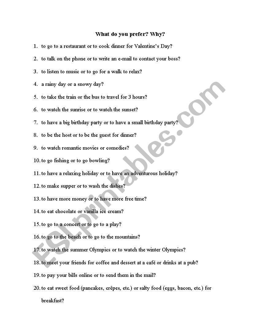 Preferences worksheet