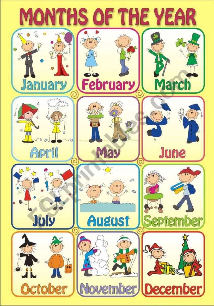 MONTHS OF THE YEAR - Poster worksheet