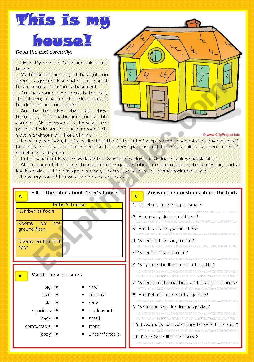 This is my house worksheet