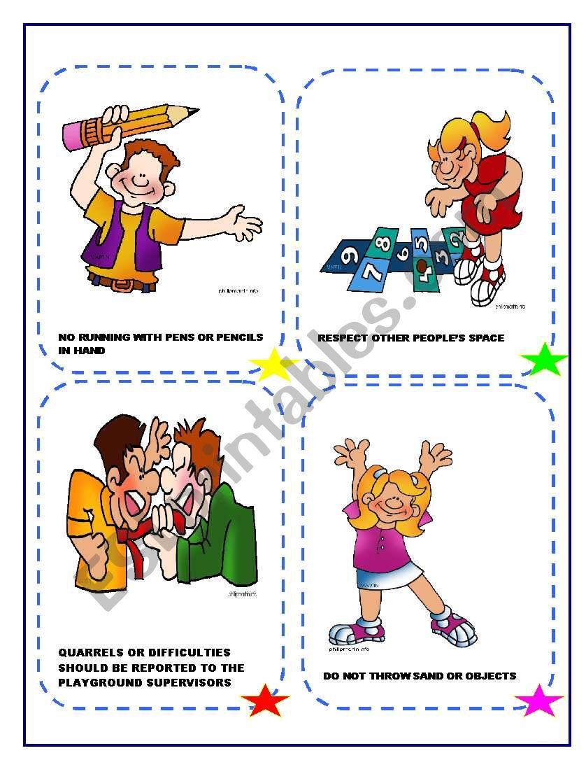 playground rules esl worksheet by giovanni