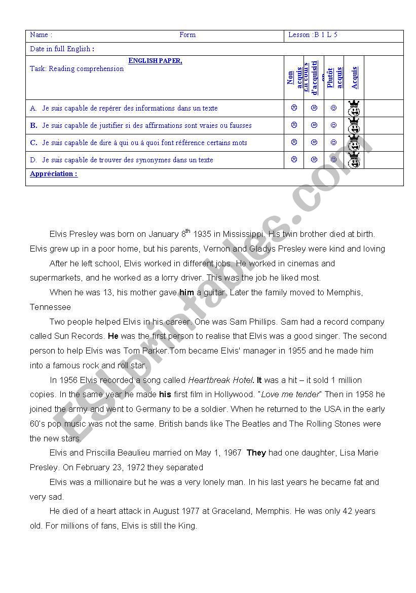 Elvis Presley´s biography worksheet