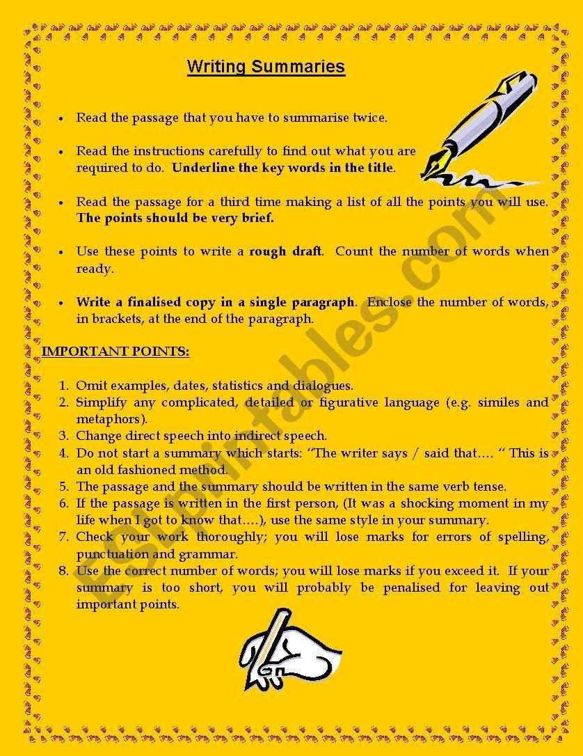 Summary Writing Esl Worksheet By M Farvas [ 1086 x 838 Pixel ]