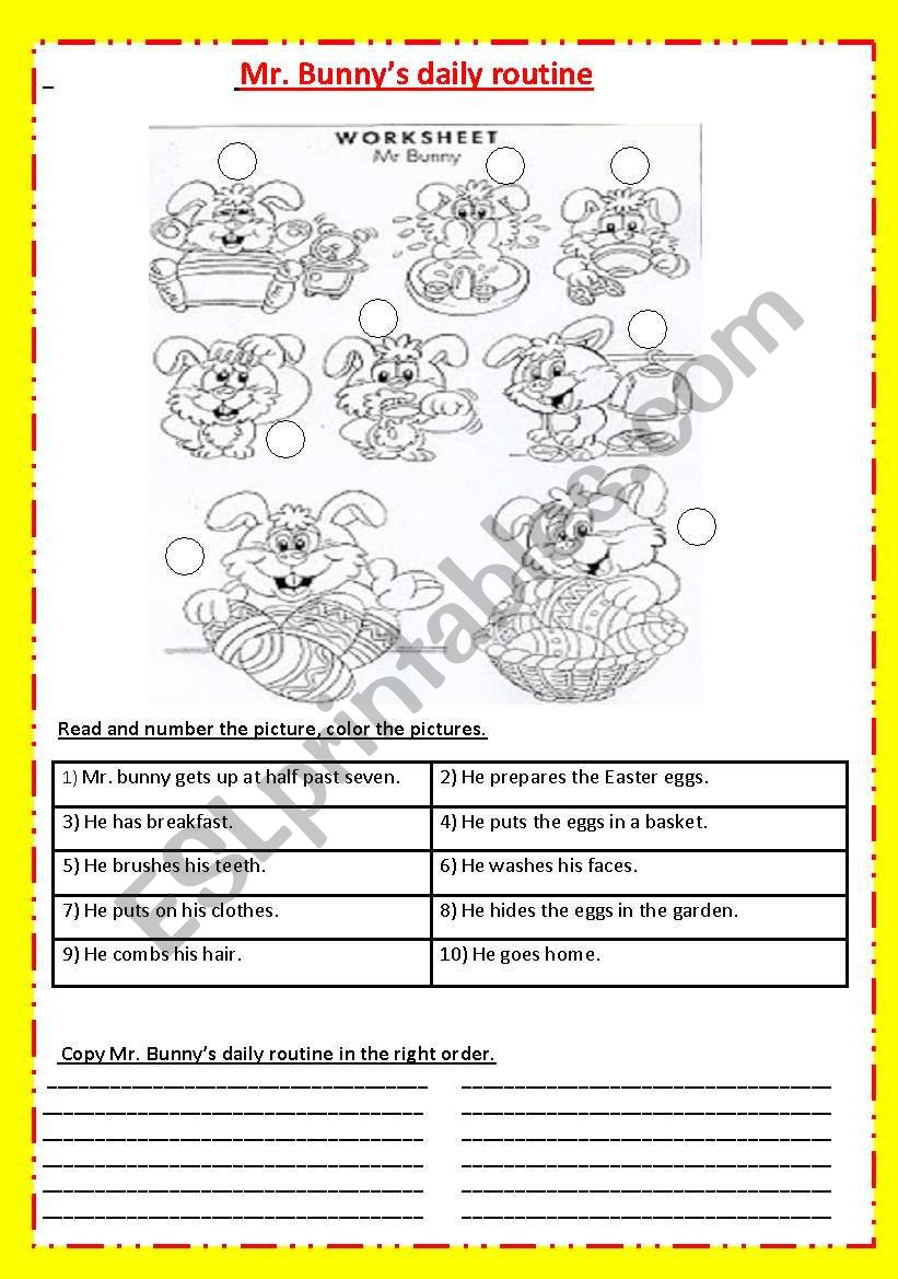Mr. Bunny ´s daily routine worksheet