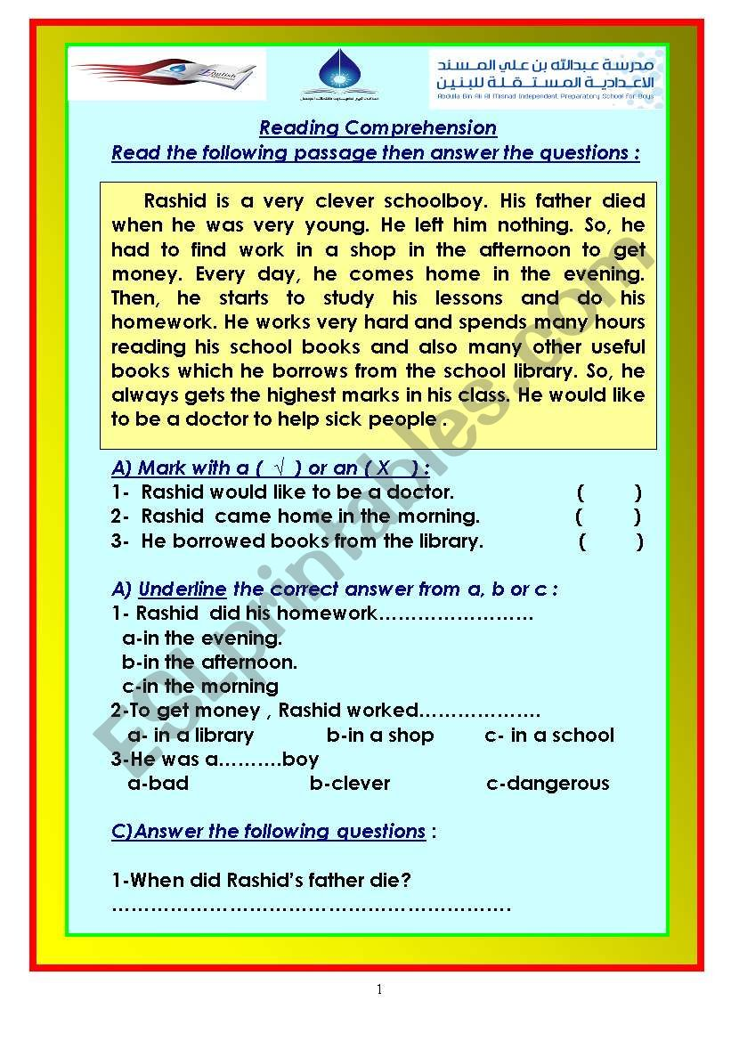 - 24 Reading Passages . Suitable For Elementary Levels - ESL