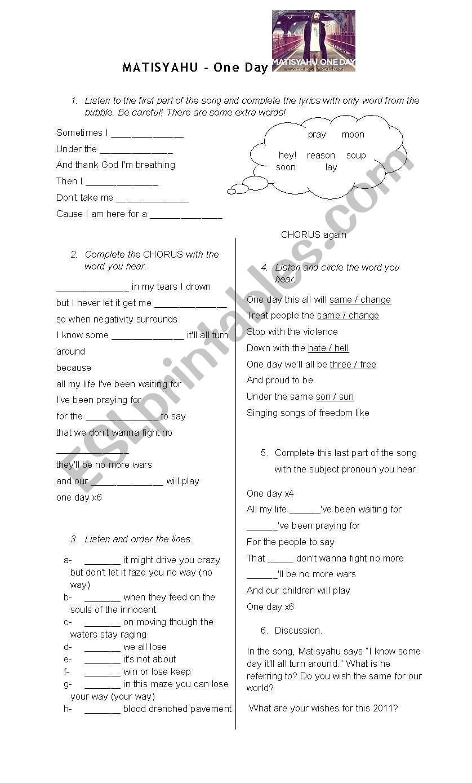 MATISYAHU - One Day worksheet