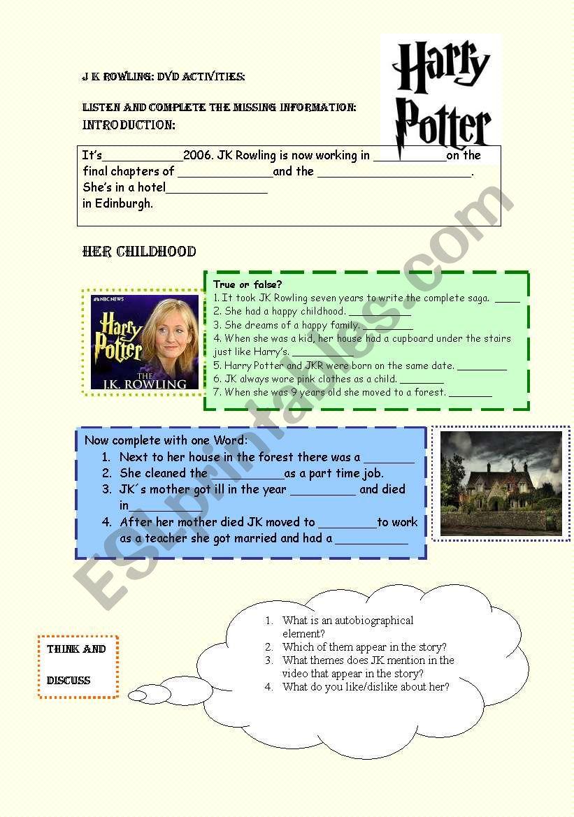 JK Rowlings Biography worksheet