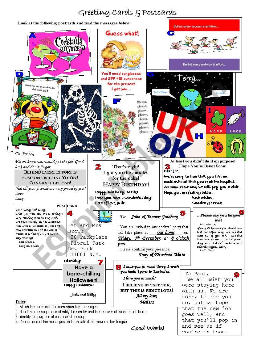 Greetings & Postcards worksheet