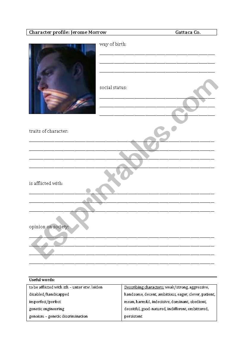 English Worksheets Character Profils Gattaca
