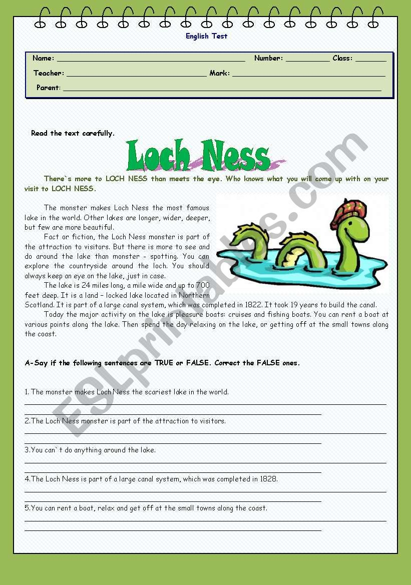 Test - Loch Ness worksheet
