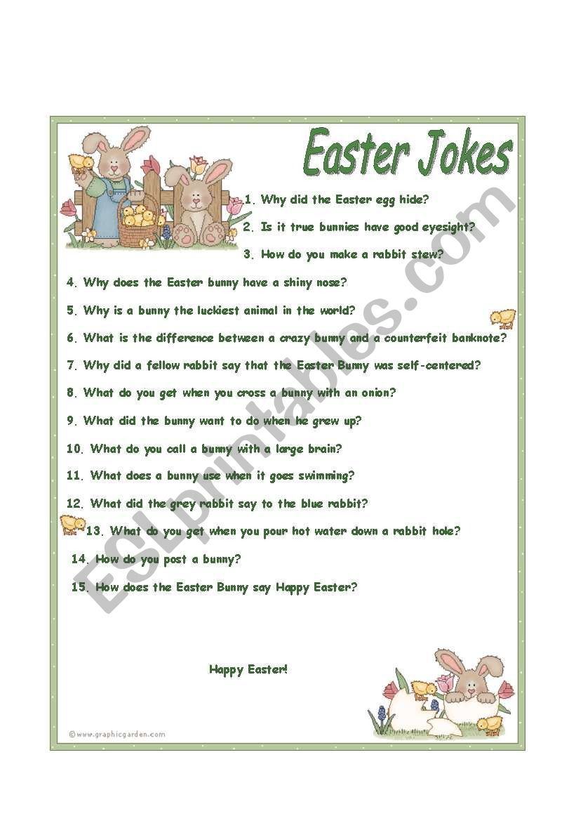 Easter jokes worksheet