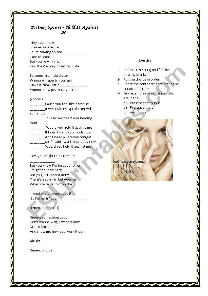 Conditionals with Britney Spears in Hold it against me