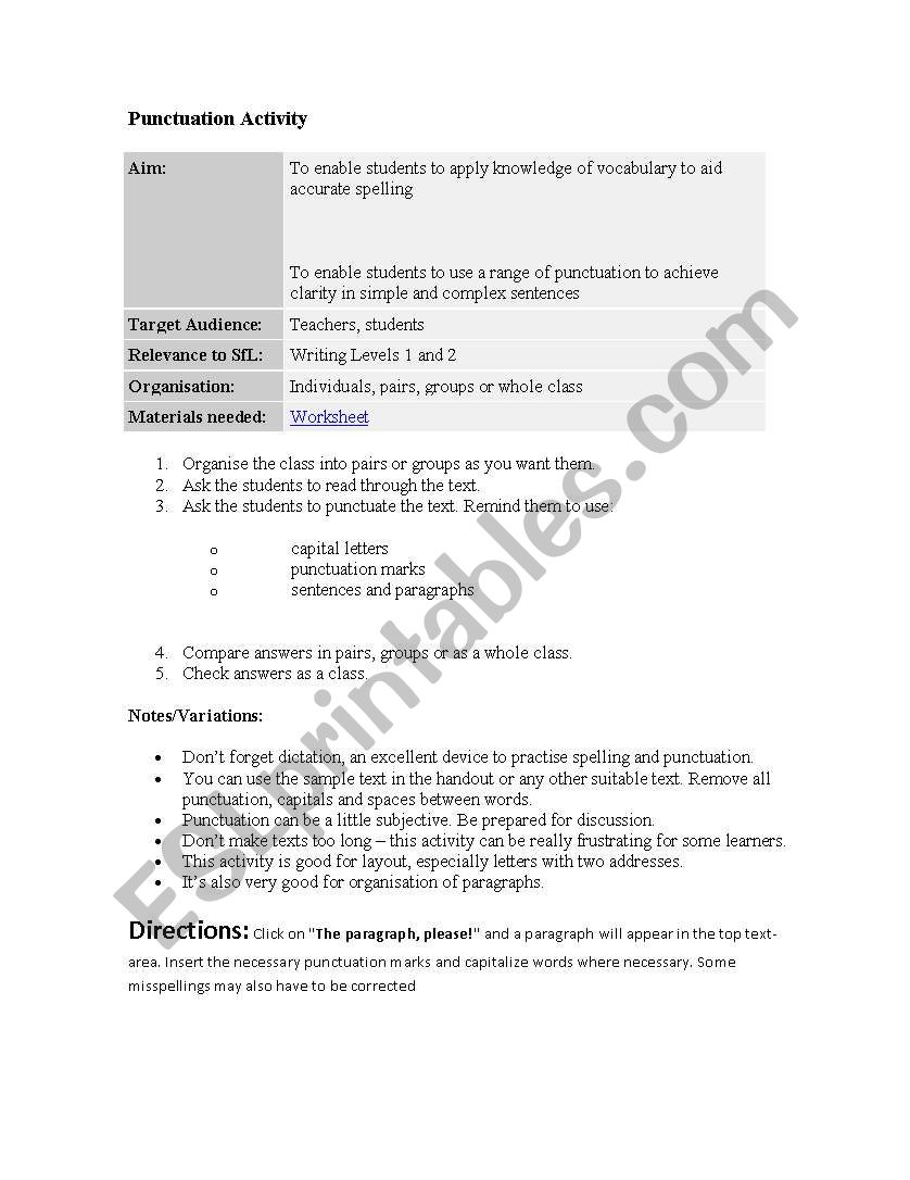 puntuaction activity worksheet