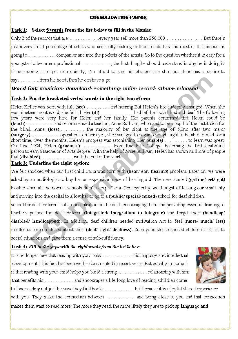 consolidation tasks 2nd form tunisian students