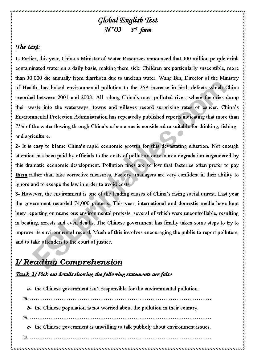 global exam 3rd form worksheet