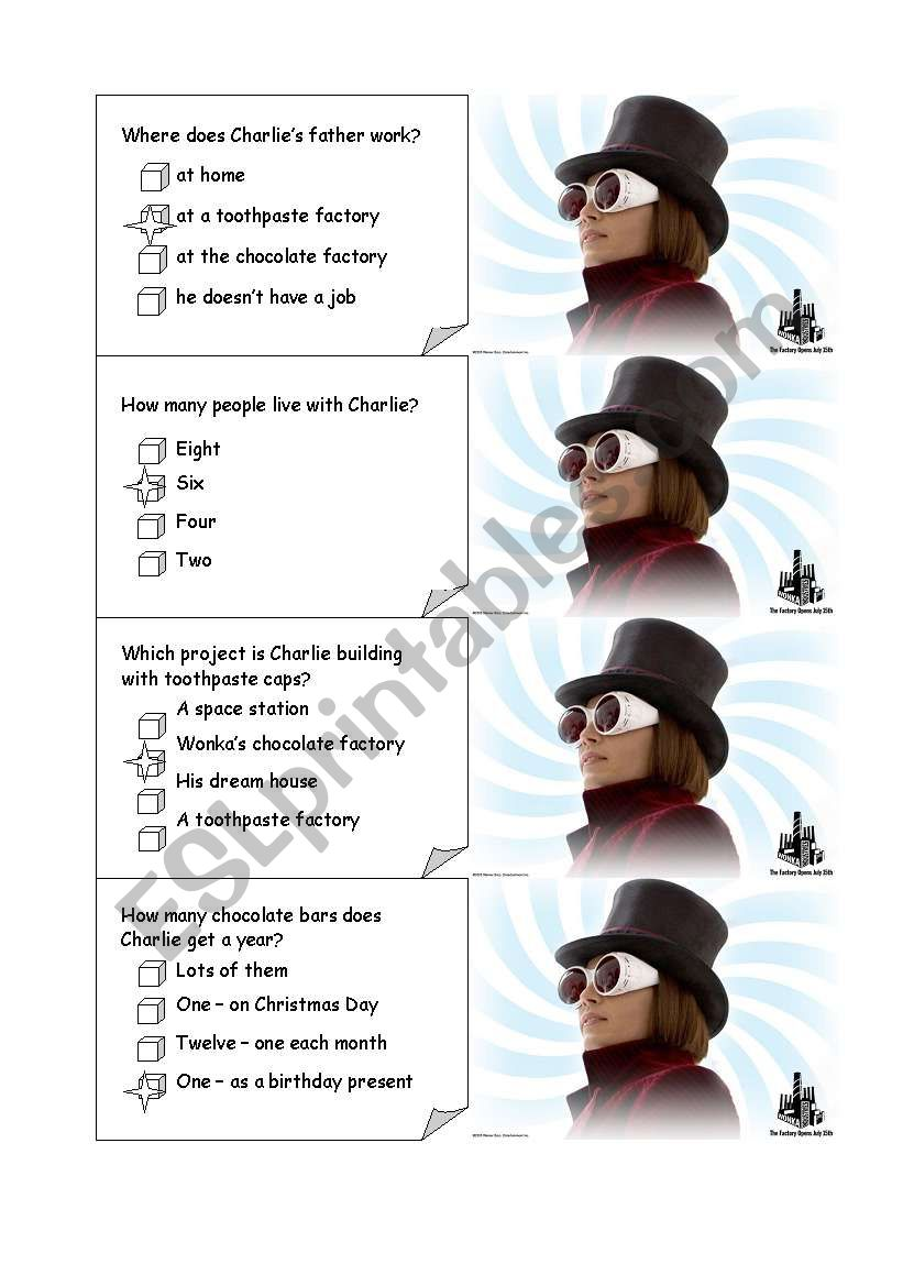 CHARLIE AND THE CHOCOLATE FACTORY board game CARDS1