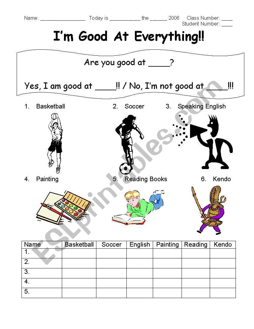 Are you good at ..? - ESL worksheet by kutsukakejun@yahoo.com
