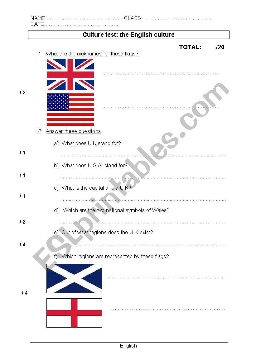 British Culture worksheet