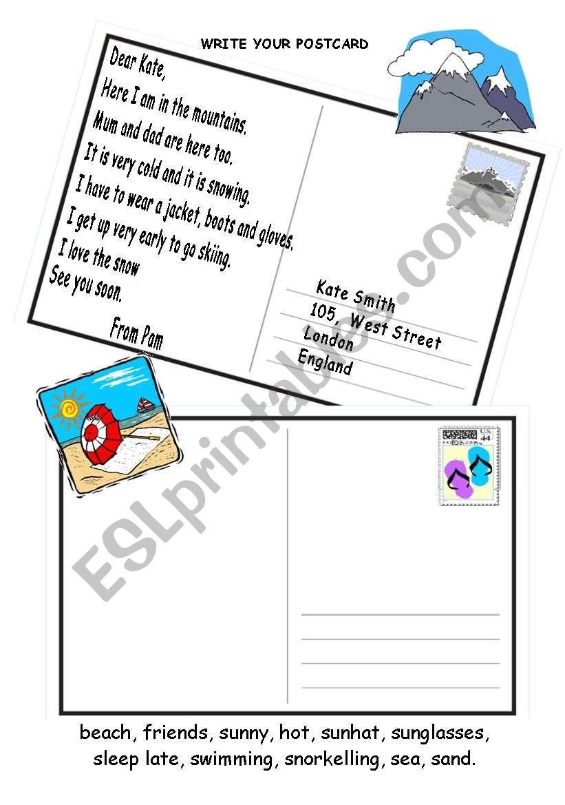 postcard worksheet