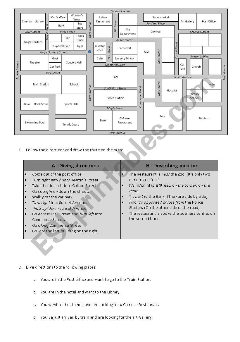 giving directions esl worksheet by ruikosta. Black Bedroom Furniture Sets. Home Design Ideas