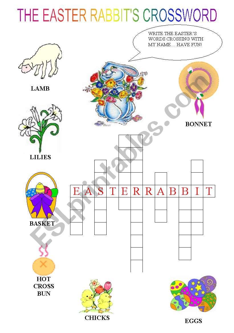 The Easter rabbit´s crossword worksheet