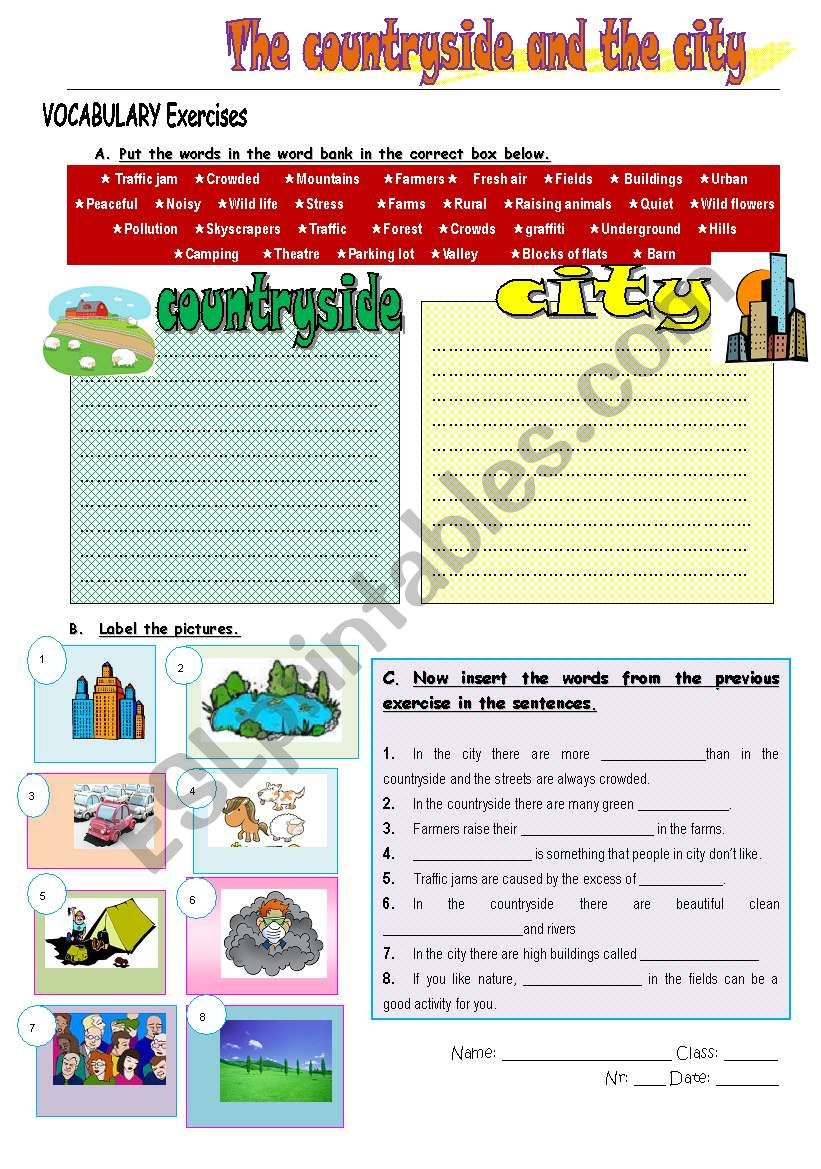 the countryside and the city worksheet
