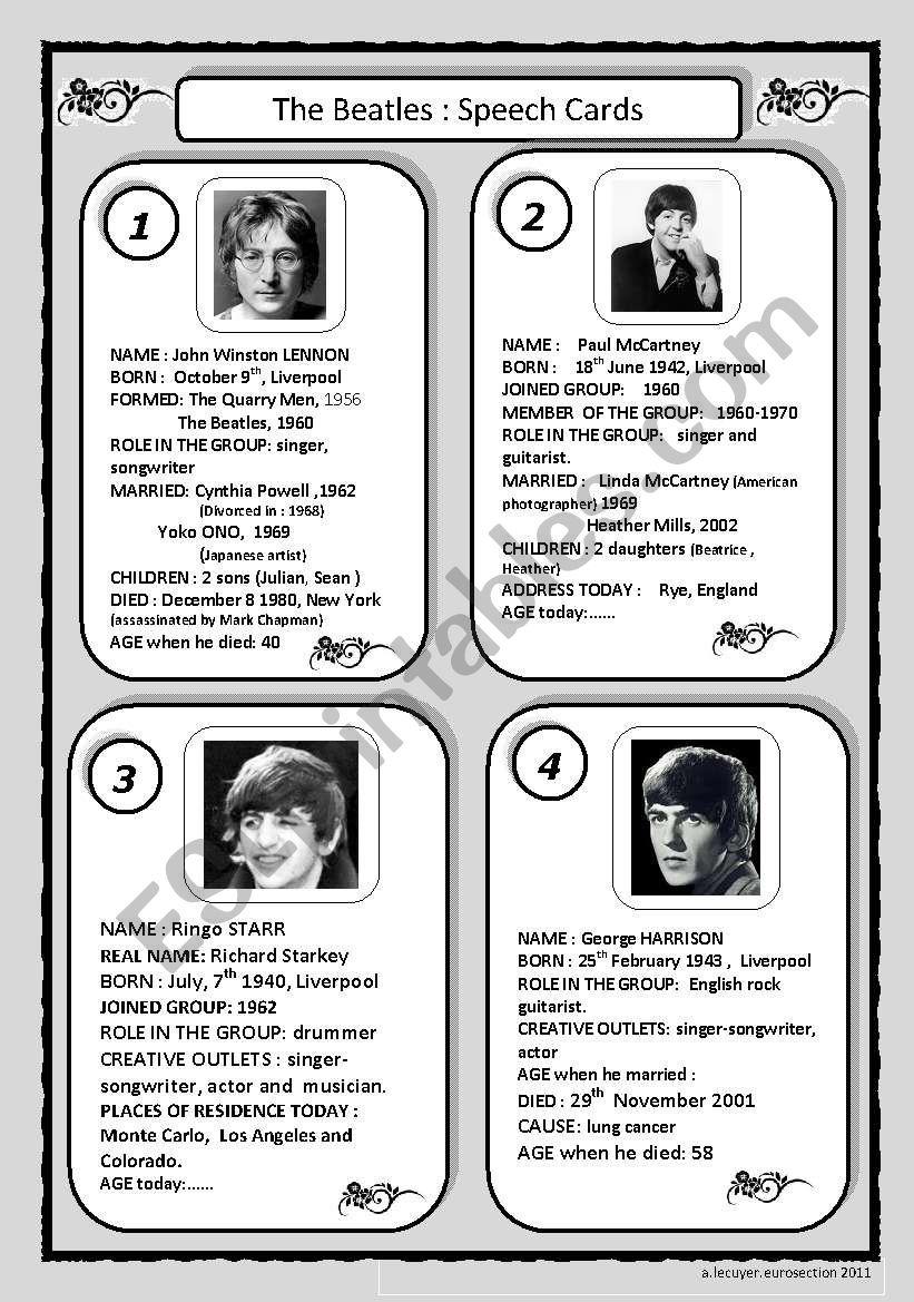 speech cards: The Beatles worksheet