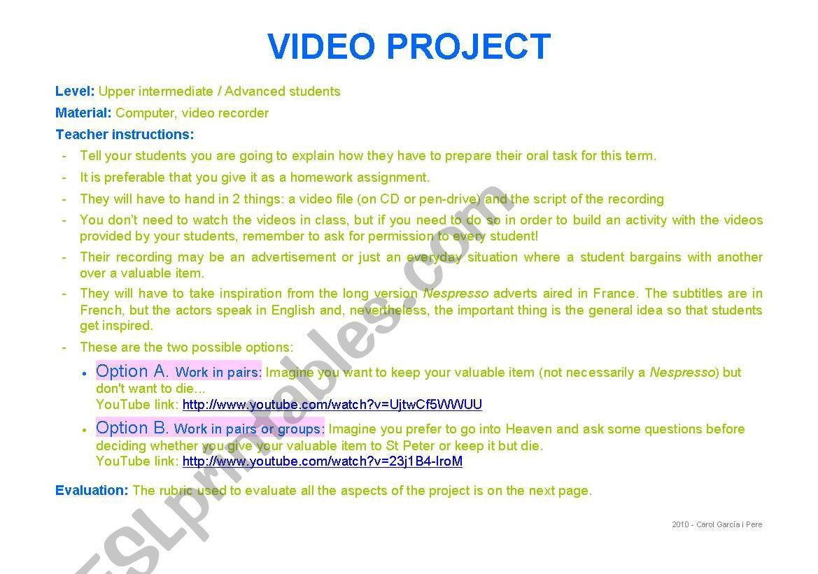 Video project: Nespresso advert