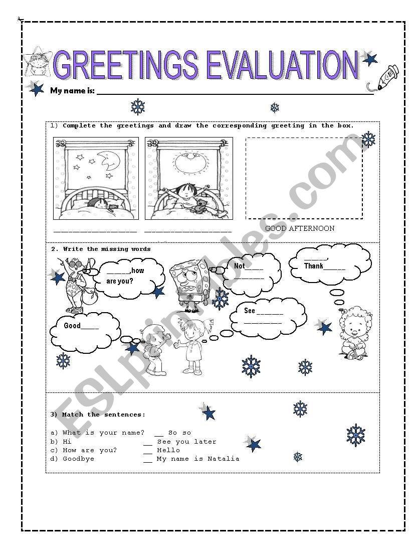 Greetings Evaluation Esl Worksheet By Marxelamosh