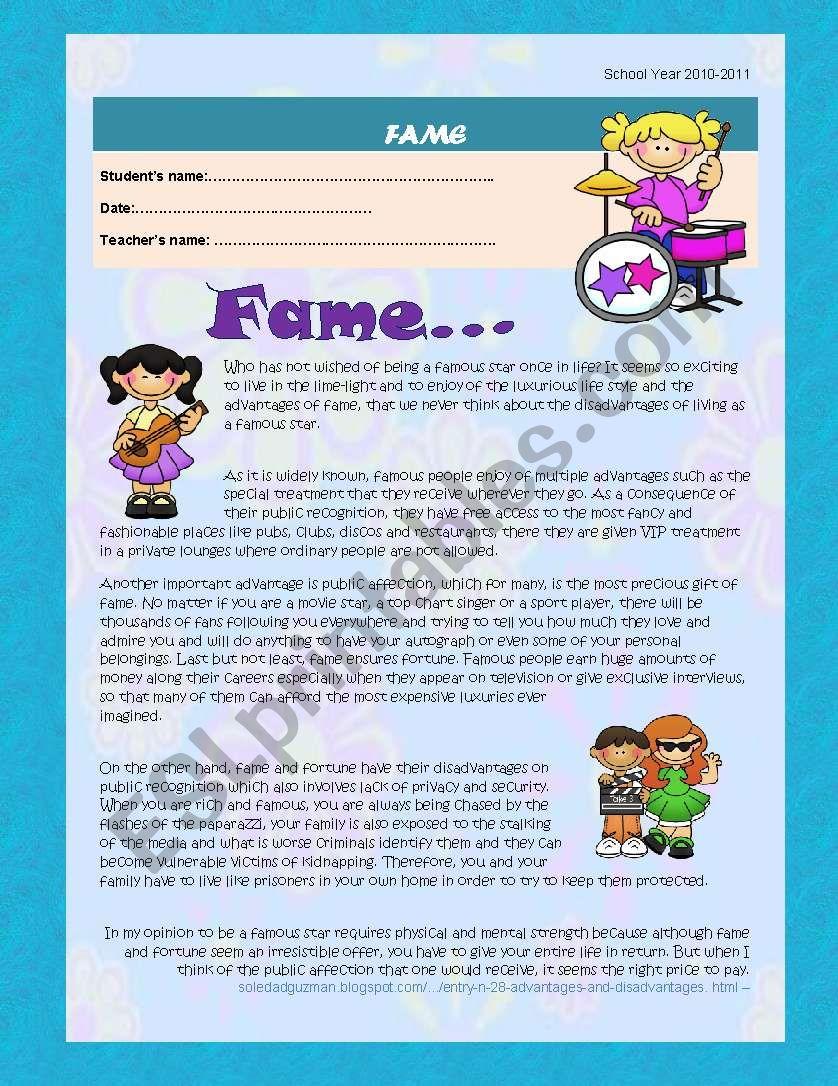 Fame worksheet