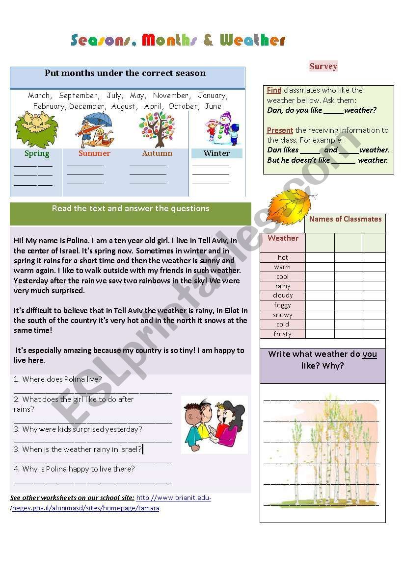 Seasons, months and weather worksheet