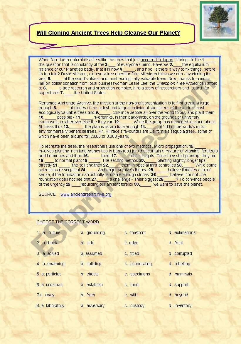 CLOZE worksheet