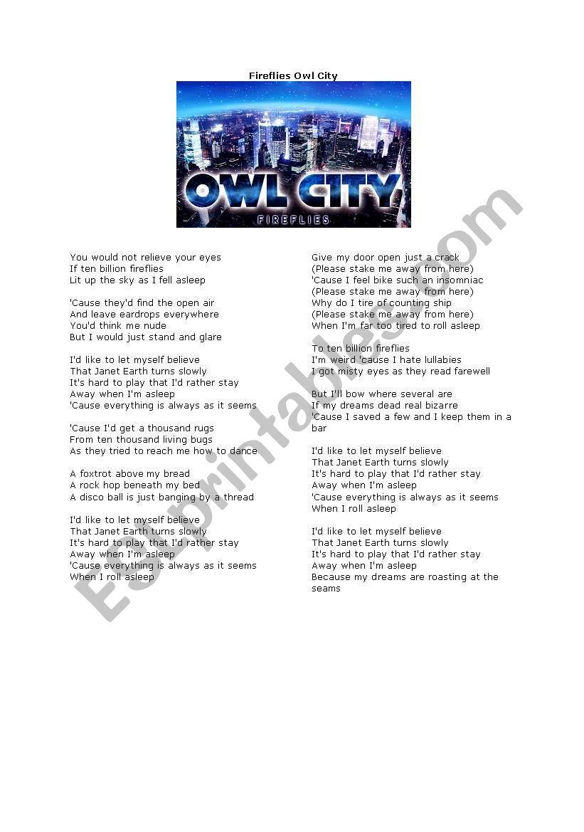 English Worksheets Owl City Fireflies Lyrics