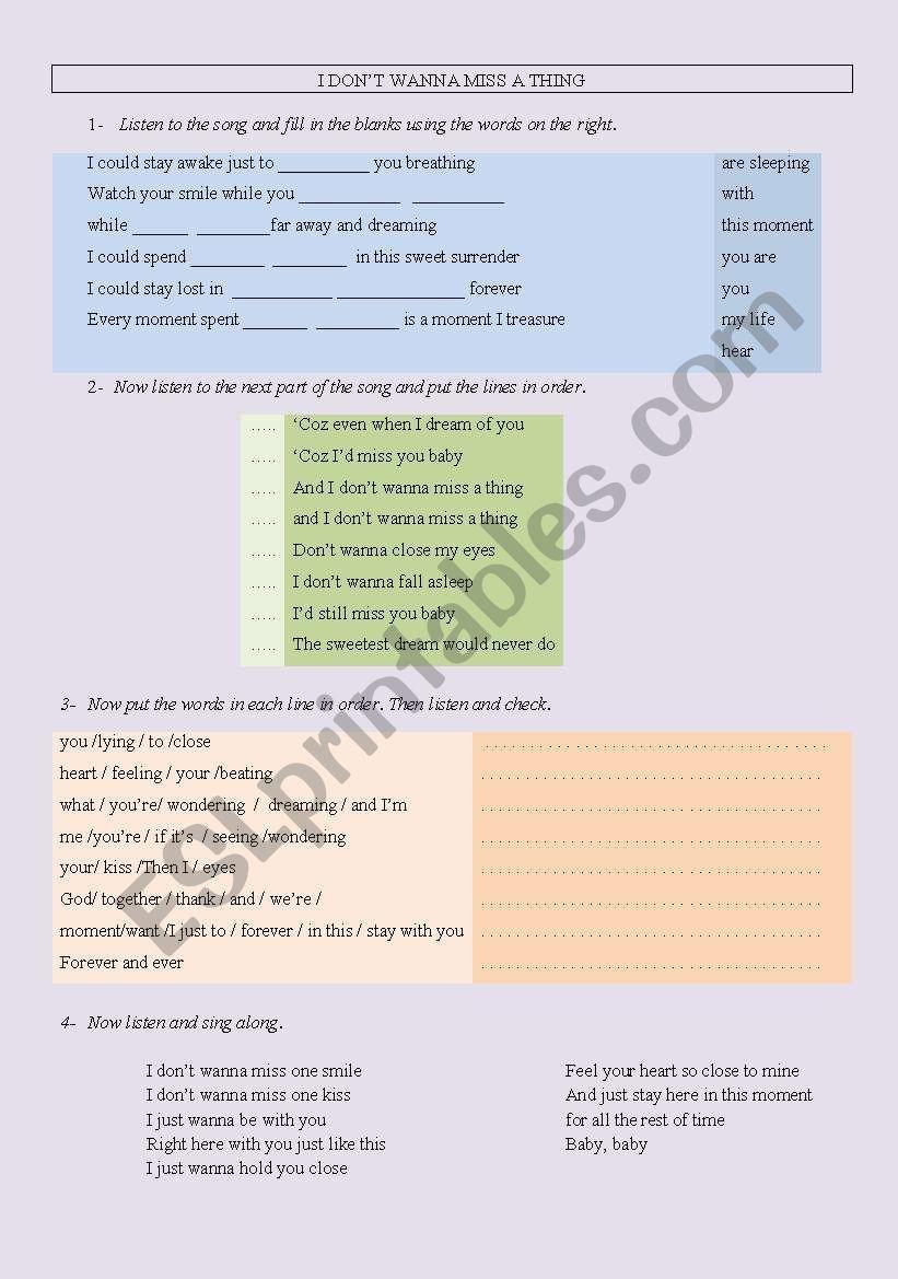 I don´t wanna miss a thing - ESL worksheet by mirtaherheluk